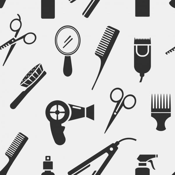 En esta imagen vemos diferentes iconos de artículos de peluquería: tijeras, espejo, secador, peines, maquinillas de afeitar, champú de pelo.